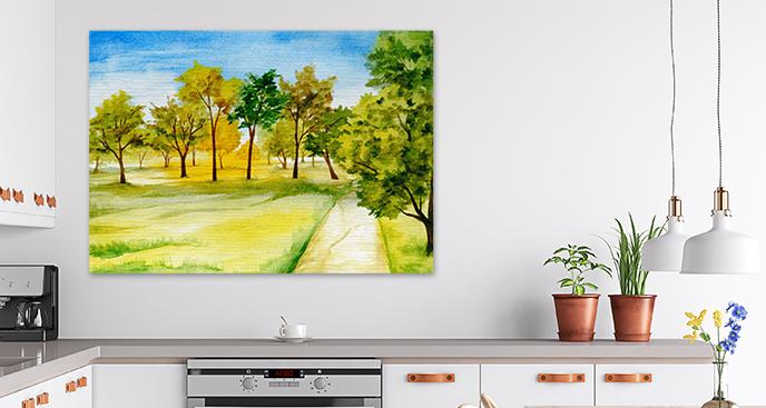 Obraz z aleją drzew
