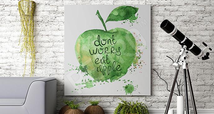Obraz z cytatem i jabłkiem