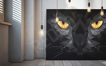 Obraz z czarnym kotem