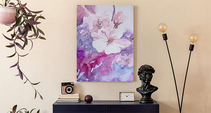 Obraz z fioletowym deseniem