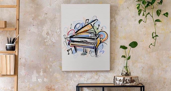 Obraz z grającym fortepianem