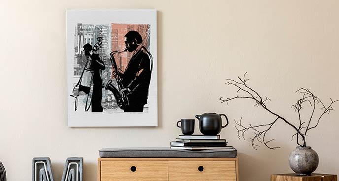 Obraz z grającym muzykiem
