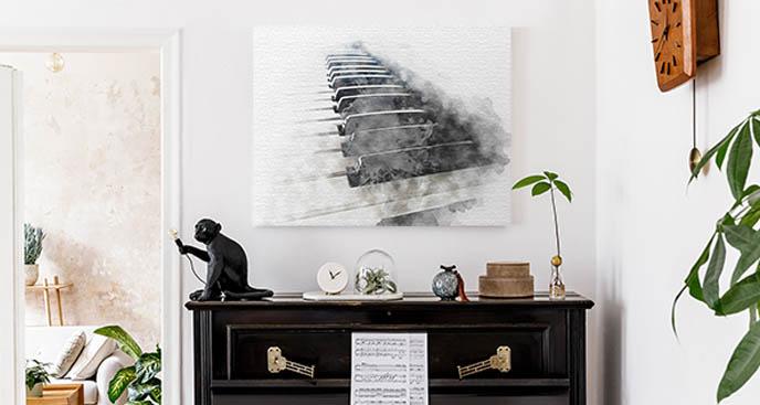 Obraz z klawiszami fortepianu we mgle