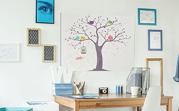 Obraz z kolorowymi ptakami