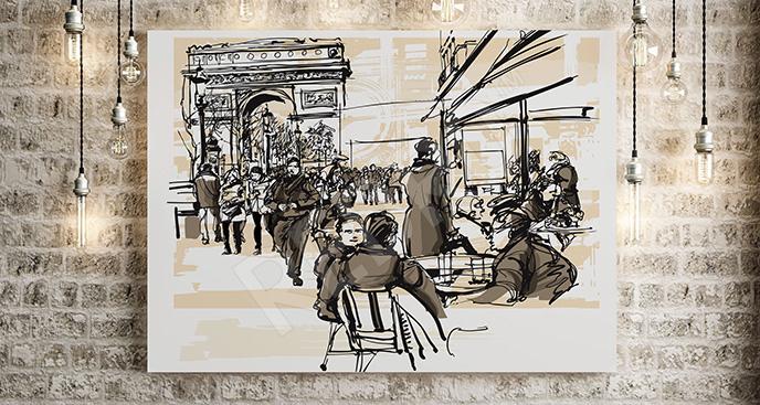 Obraz z ludźmi w Paryżu