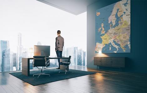 Obraz z polityczną mapą Europy do biura