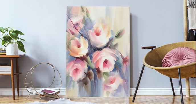 Obraz róża z białymi płatkami