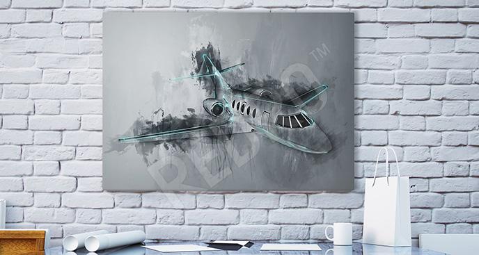 Obraz z samolotem abstrakcja