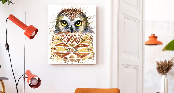 Obraz z sową w stylu scandi