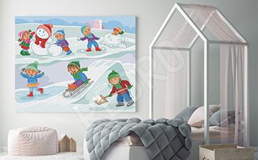 Obraz zabawy na śniegu