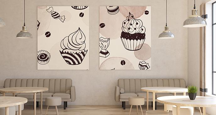 Obraz ze słodyczami do kawiarni