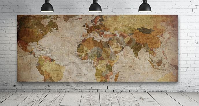 Obraz ze starą mapą świata
