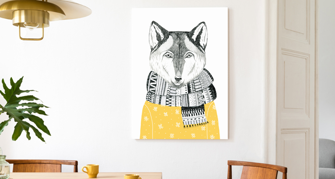 Obraz ze zwierzęciem w szaliku