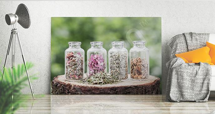 Obraz zioła w butelkach