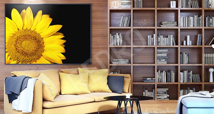 Obraz żółty kwiat w skali makro