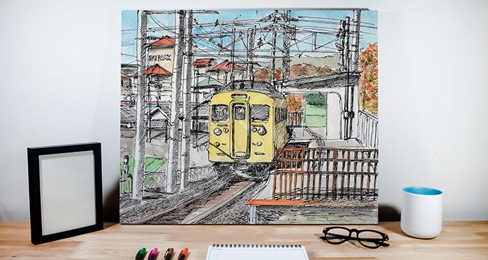 Obraz żółty pociąg