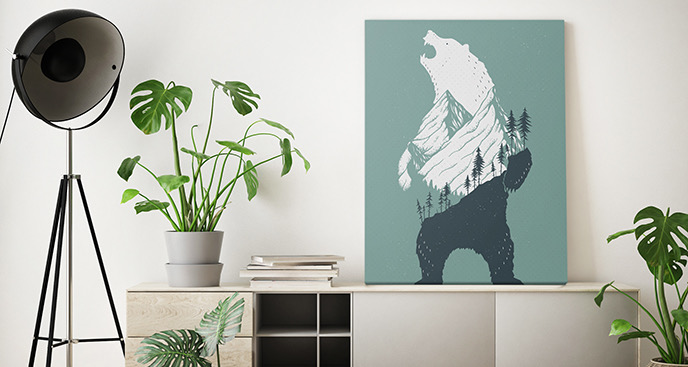 Obraz zwierzęta i niedźwiedź