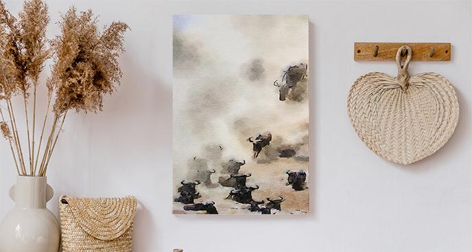 Obraz zwierzęta we mgle