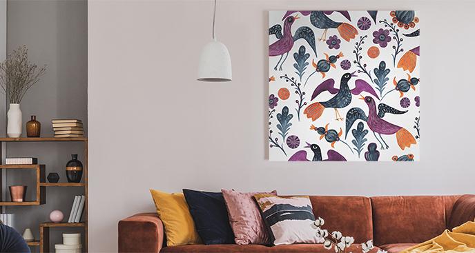 Ornamentalny obraz z ptakami