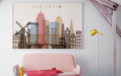 Pastelowy plakat Amsterdam