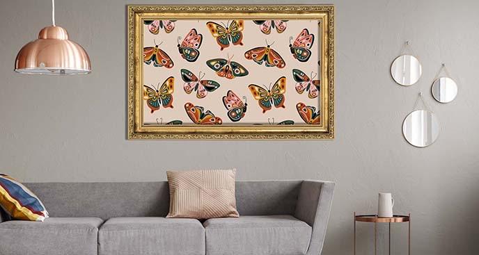 Pastelowy plakat motyle