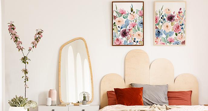 Pastelowy plakat z kwiatami