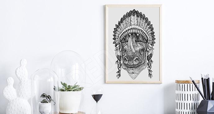 Plakat Afryka: nosorożec