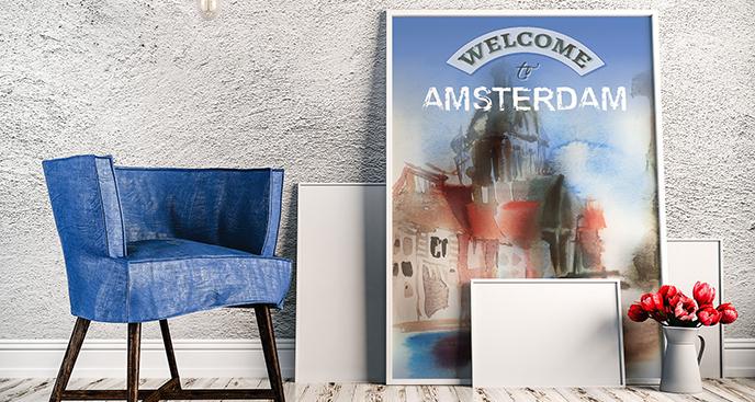 Plakat Amsterdam akwarela