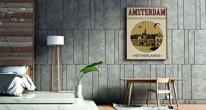 Plakat Amsterdam do sypialni