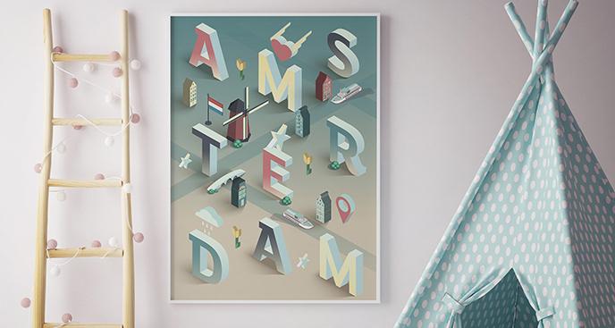 Plakat Amsterdam typograficzny