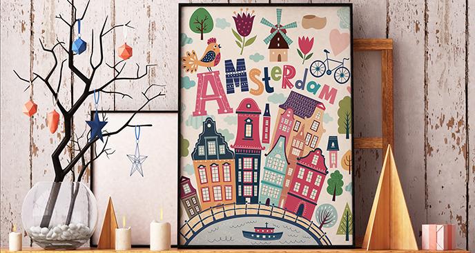 Plakat Amsterdam w symbolach