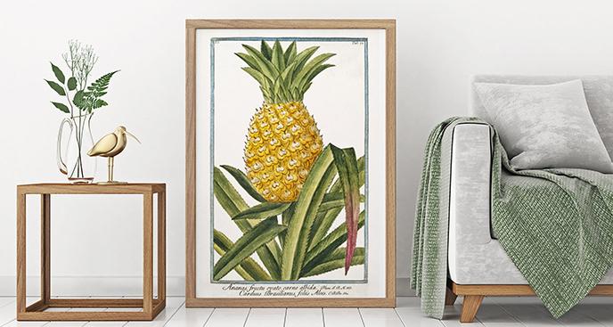 Plakat ananas wśród liści