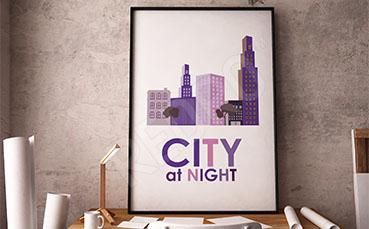 Plakat architektura miasta nocą