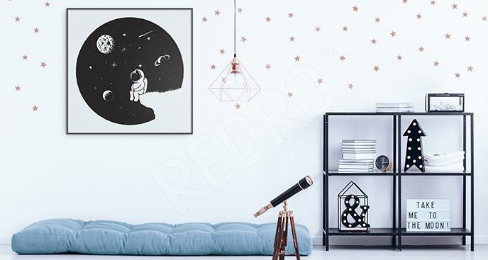 Plakat astronauta na Księżycu