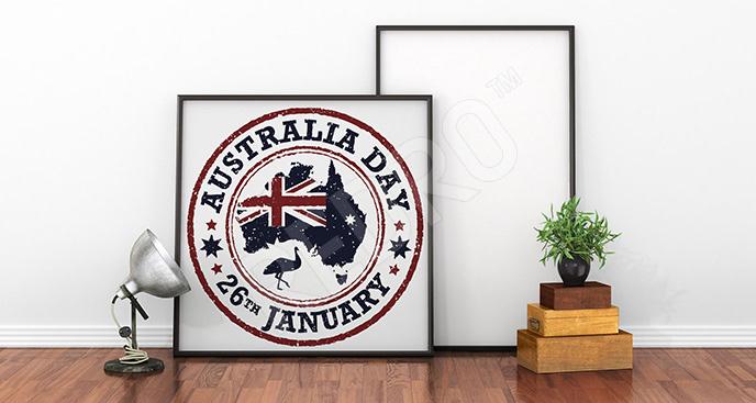 Plakat Australia z flagą