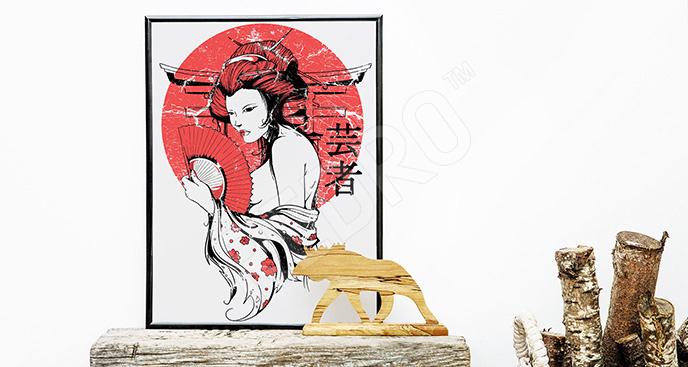 Plakat Azja: gejsza