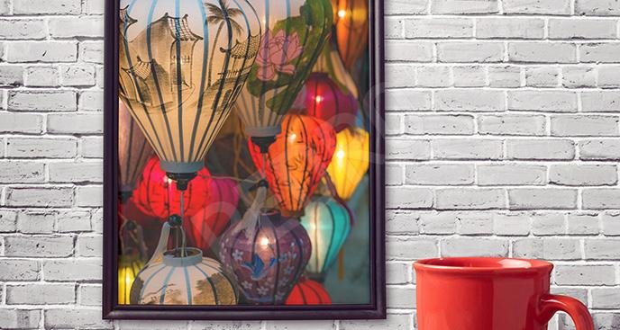 Plakat Azja: papierowe latarnie