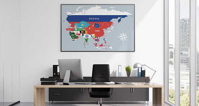 Plakat Azja z flagami państwa
