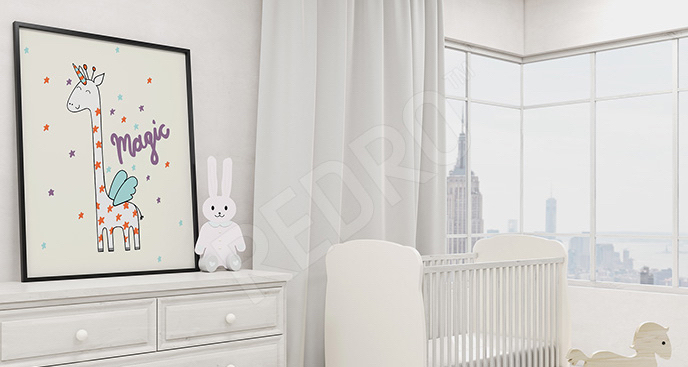 Plakat bajkowa żyrafa dla dzieci