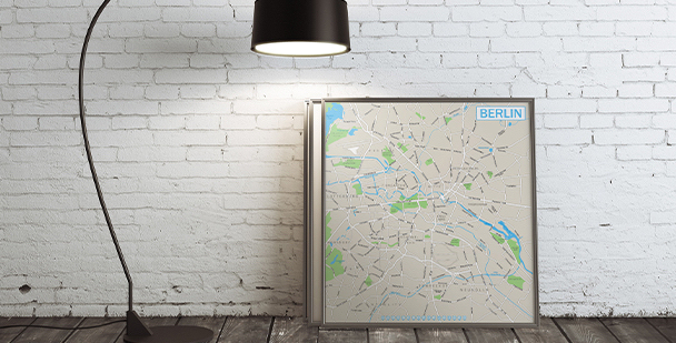 Plakat Berlin na mapie