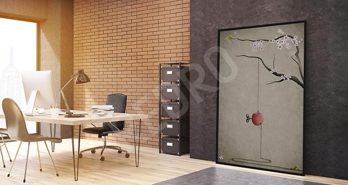 Plakat biurowy z jabłkiem