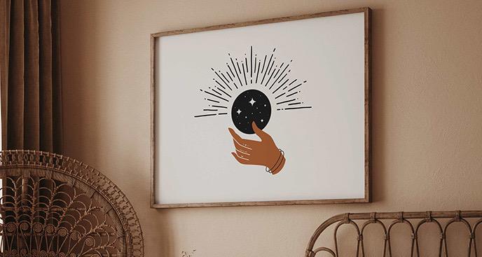Plakat boho: księżyc i dłoń