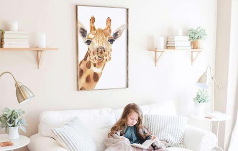 Plakat boho żyrafa