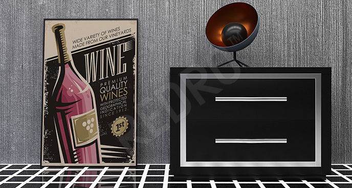 Plakat butelka wina