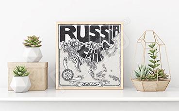 Plakat czarno-biała Azja