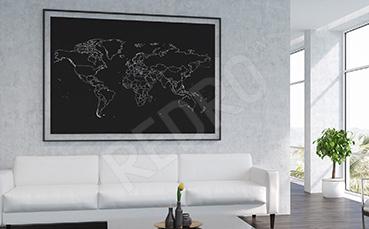 Plakat czarno-biała mapa globu