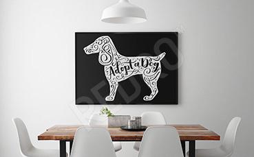 Plakat czarno-biały: adoptuj psa