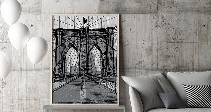 Plakat czarno-biały Brooklyn Bridge