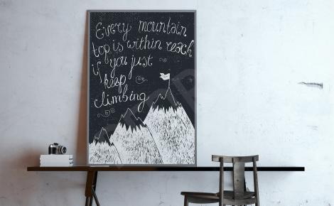Plakat czarno-biały góry