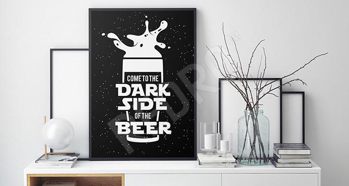 Plakat czarno-biały piwo